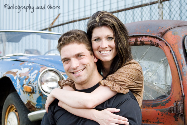 Couple in front of old car  / engagement photographer CT