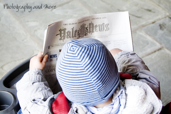 baby reading the news / CT children photography