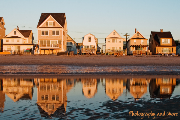 Milford, CT beach houses in sunrise/ CT photography