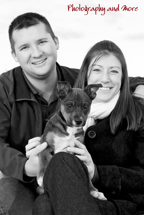 Elvis and his new family - black and white christmas photo