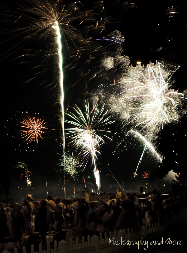 photograph of fireworks with a crowd of people in Milford, CT